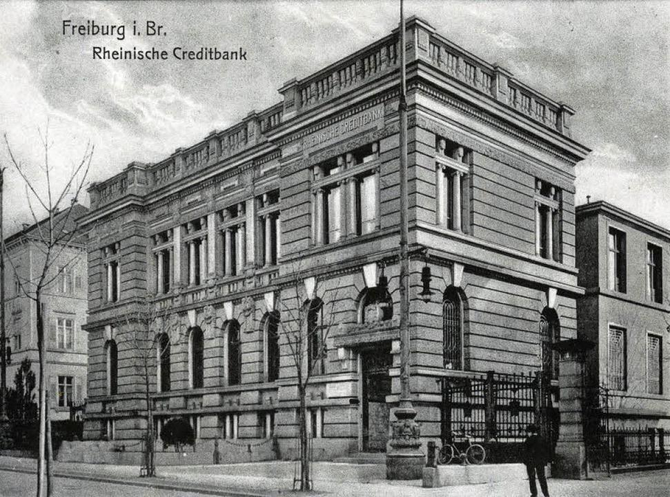Die Freiburger Filiale der Rheinischen...nahme, die um das Jahr 1910 entstand.   | Foto: Archiv Manfred Gallo