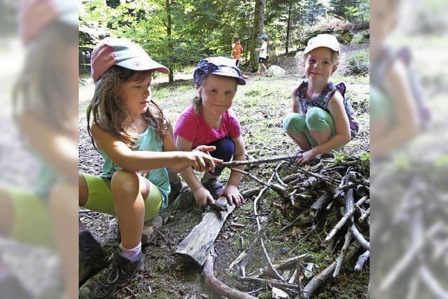 Kinder erforschen den Wald und seine Tiere