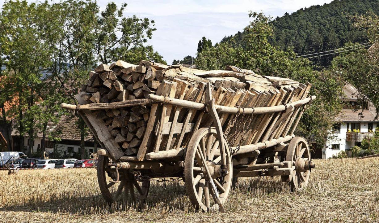 Hat sein Wage vollgelade: Holzabfuhr früher.  | Foto: Photographer: Gabriele Zahn