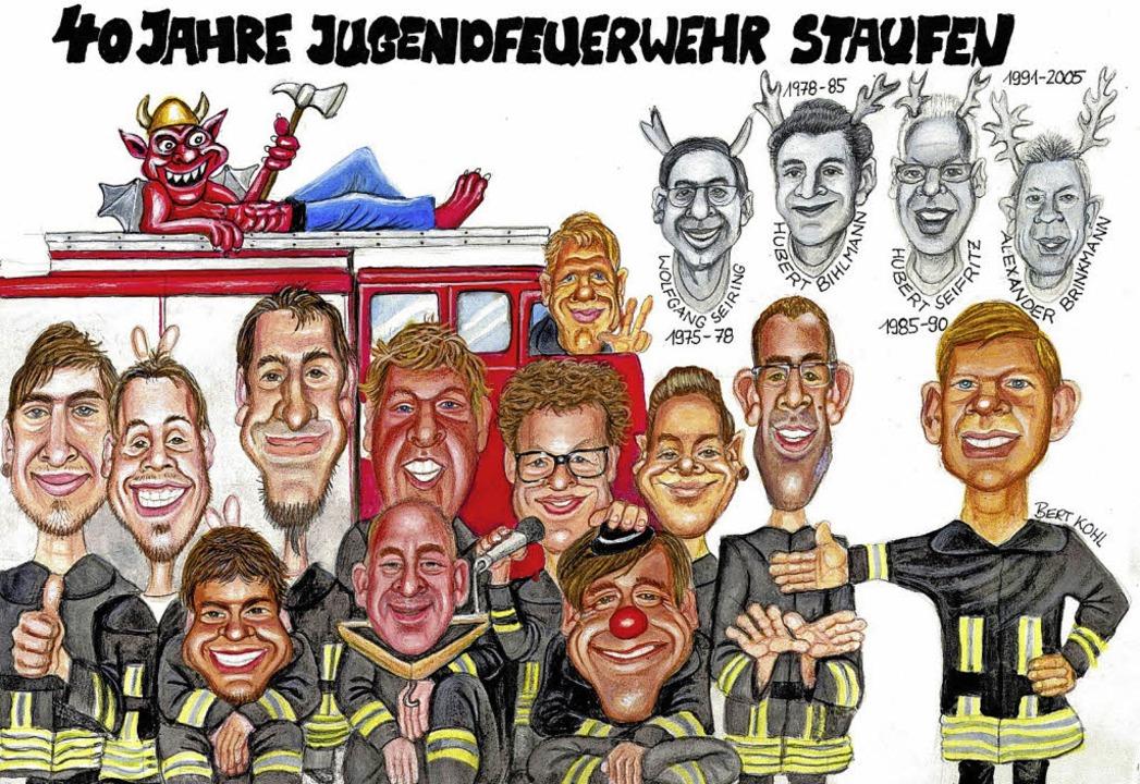 Früh übt sich – auch bei der Staufener Feuerwehr.    Foto: Karikatur: Bert Kohl