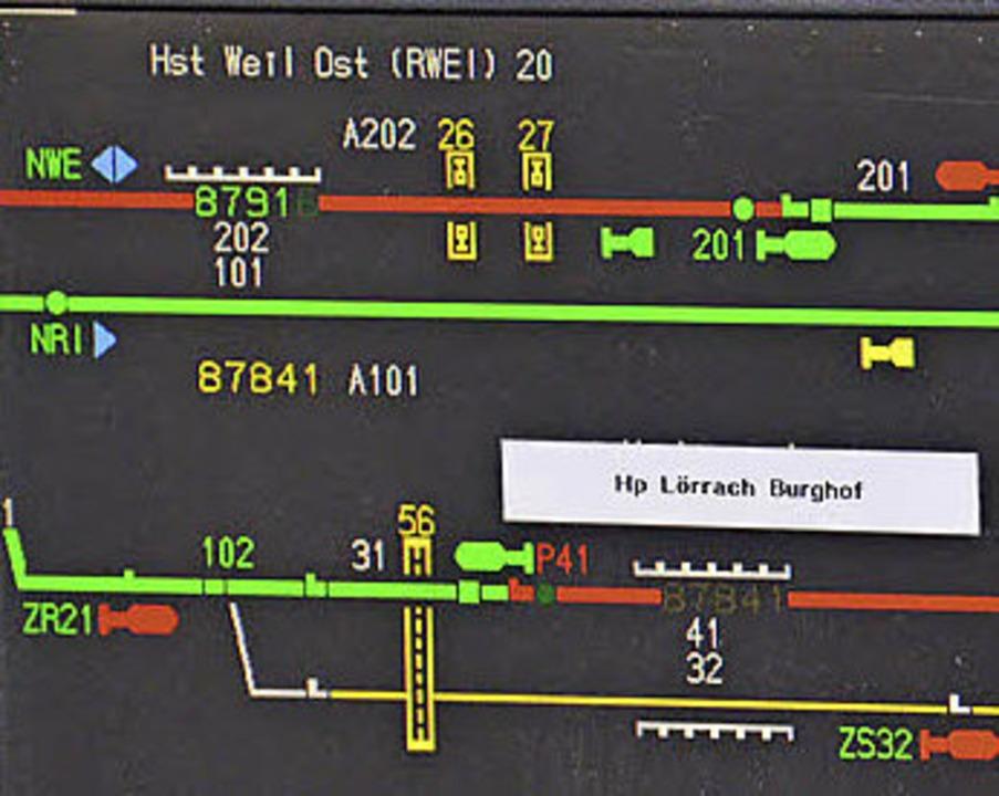 Zugverkehr auf der Wiesentalbahn wie ihn der Monitor zeigt.  | Foto: Nikolaus Trenz