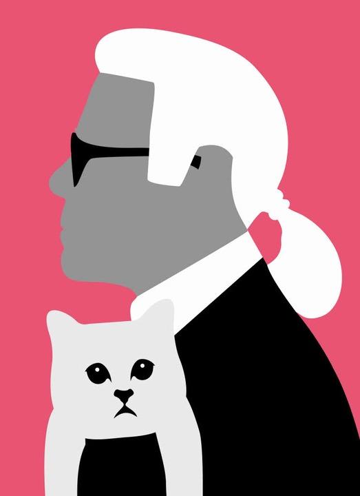 Zopf, Katze, Sonnenbrille: Lagerfelds Markenzeichen     Foto: Illustration: Nils Oettlin