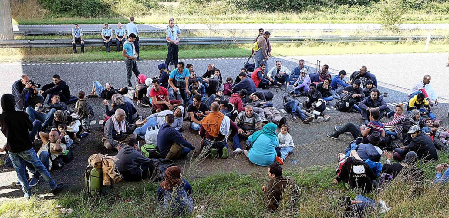 Flüchtlinge auf einer dänischen Autobahn  | Foto: dpa