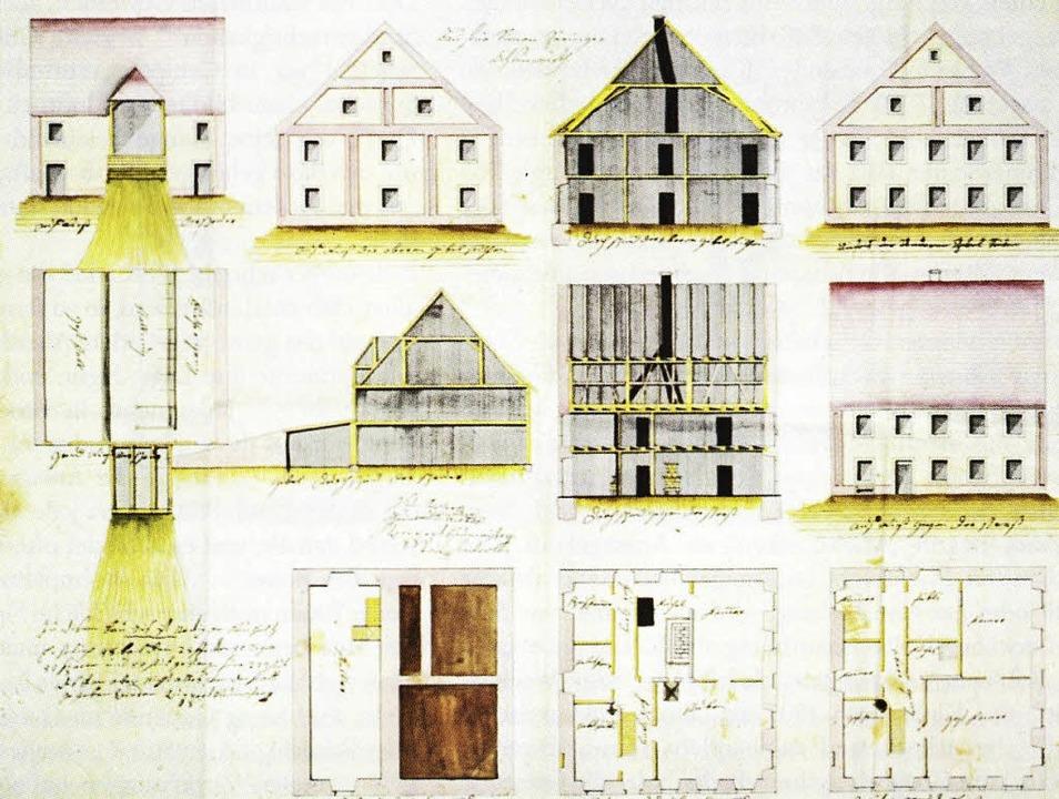 Bauskizzen für den Neubau des Wirtshau...n Simon Zähringer aus dem Jahr 1807.    | Foto:  Stadtarchiv Freiburg