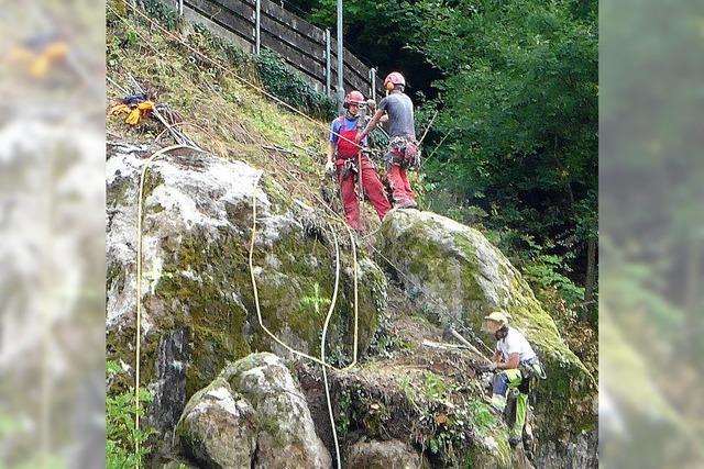Spezialfirma sichert riesigen Felsblock in Zell
