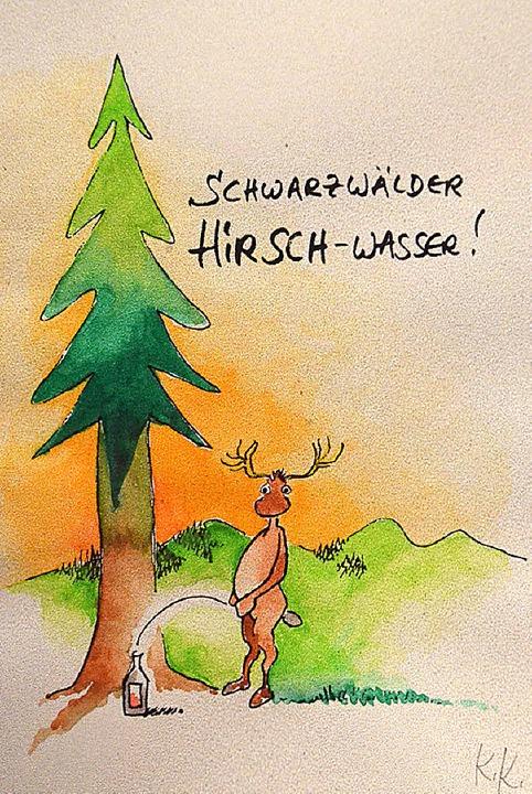 Ein edler Tropfen... Cartoons von Karl...ky sind im Alten Pfarrhof ausgestellt.    Foto: Alexandra Wehrle