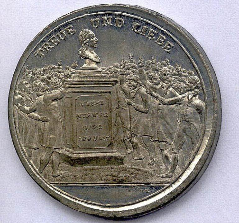 Hochverrat in Silber: die 1814 geprägt...he Rückkehr Freiburgs zu Österreich.      Foto: Augustinermuseum – Münzkabinett