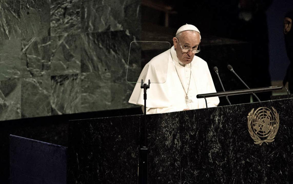 Als erster Papst eröffnete Franziskus die UN-Generalversammlung in New York.   | Foto: AFP