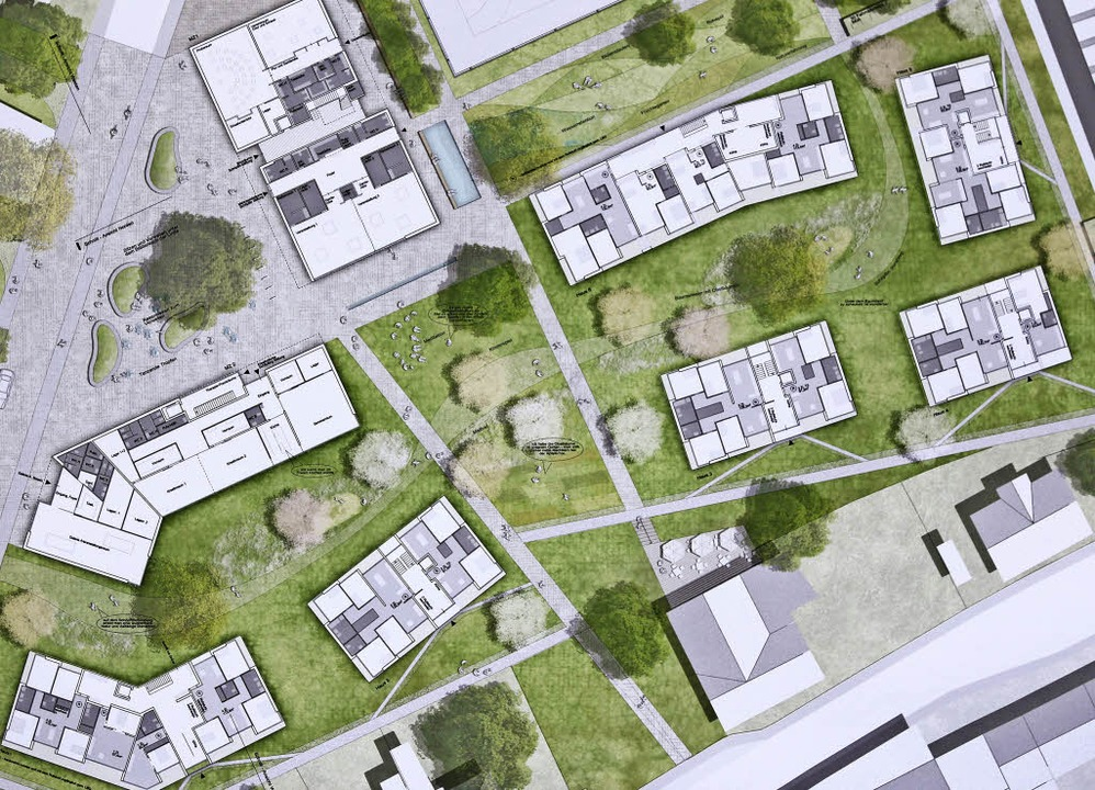 Die Pläne von Thoma.Lay.Buchler mit de...nftigen Schöpflin-Quartiers im Modell.  | Foto: Katharina Bartsch