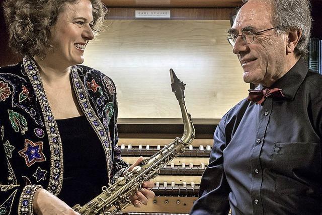 Claudia Tesorino (Saxophon) und Armin Thalheim (Orgel) in der Galluskirche in Kirchzarten