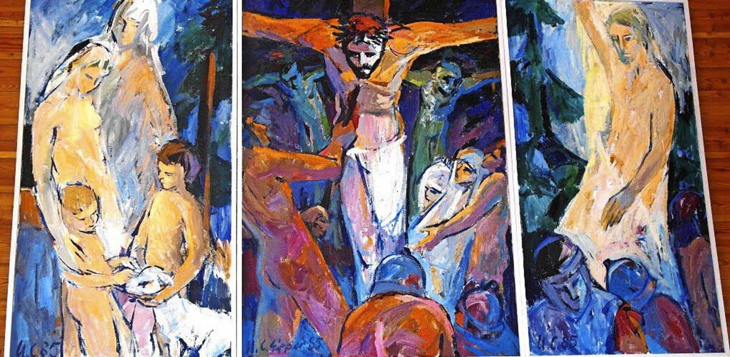 Das Triptychon von Ulrich Christoph Ei...stwerk mit Hilfe von Spenden gekauft.   | Foto: Evangelische Christusgemeinde