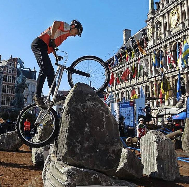<BZ-FotoAnlauf>Fahrradtrial:</BZ-FotoAnlauf> Mario Weidler in Antwerpen   | Foto:  Verein