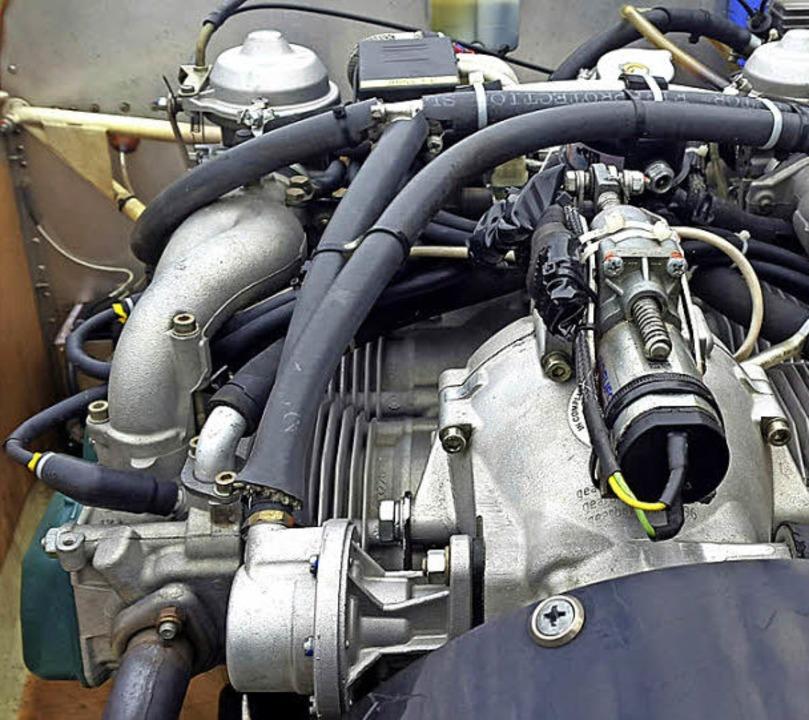 Der Motor eines Ultraleichtflugzeugs hat 100 PS.   | Foto: Daniela Frahm