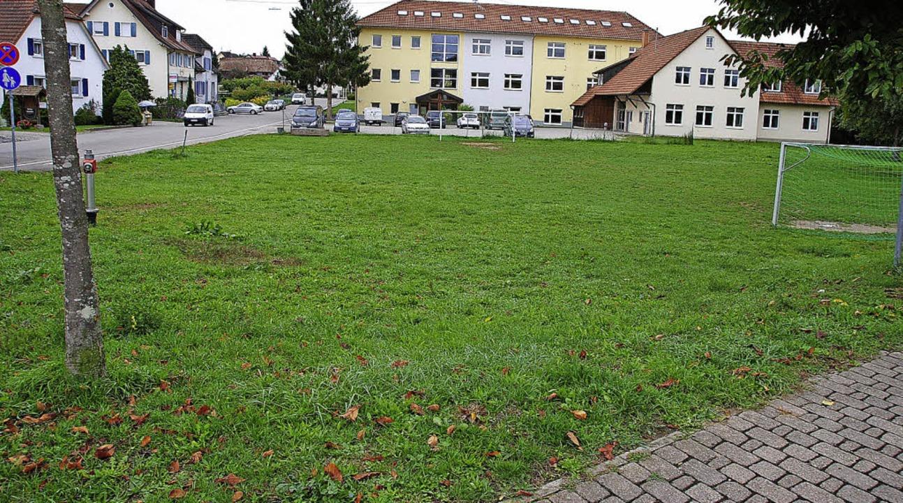 Die Wiese mit dem Bolzplatz unterhalb ...e mit der alten Waage müsste weichen.   | Foto: manfred frietsch