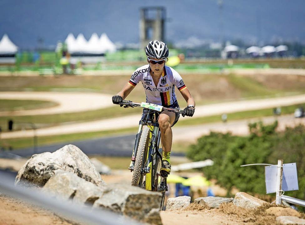 Adelheid Morath auf der Olympiastrecke in Rio  | Foto: Küstenbrück