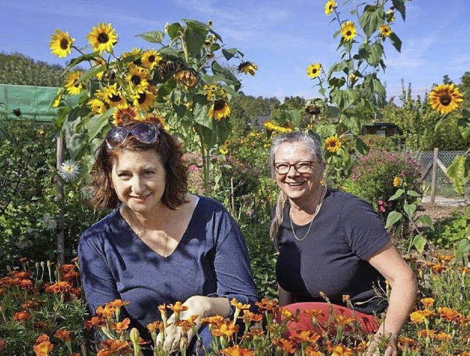 Mitten in der Spätsommerpracht: Garten...nd ihre Stellvertreterin Simone Hein.   | Foto: Anne Freyer