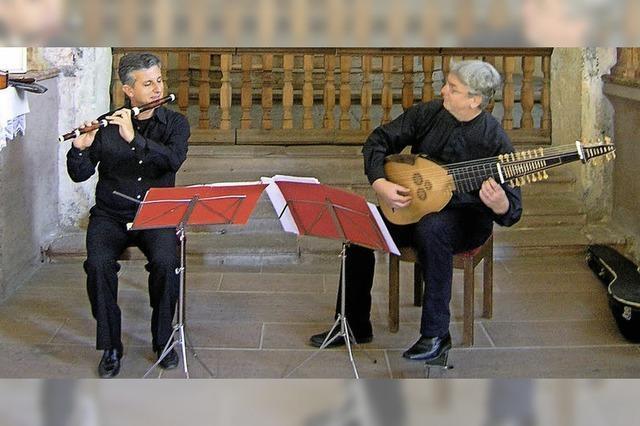 Giovanni Lazzari (Traversflöte) und Christian Zimmermann (Laute) in Freiburg