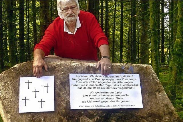 Gedenkstein für fünf ermordete Zwangsarbeiter in Elbenschwand