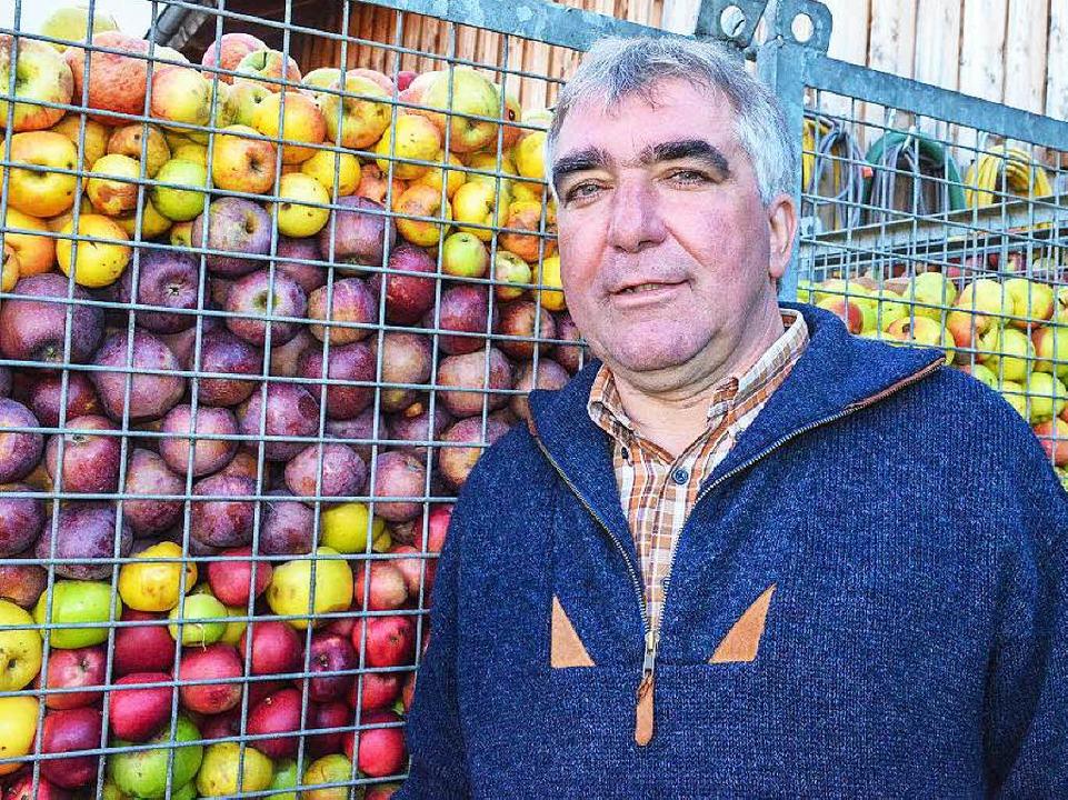 Martin Geng vom Obstparadies Staufen &...äpfel unterschiedlichster alter Sorten  | Foto: Gabriele Hennicke