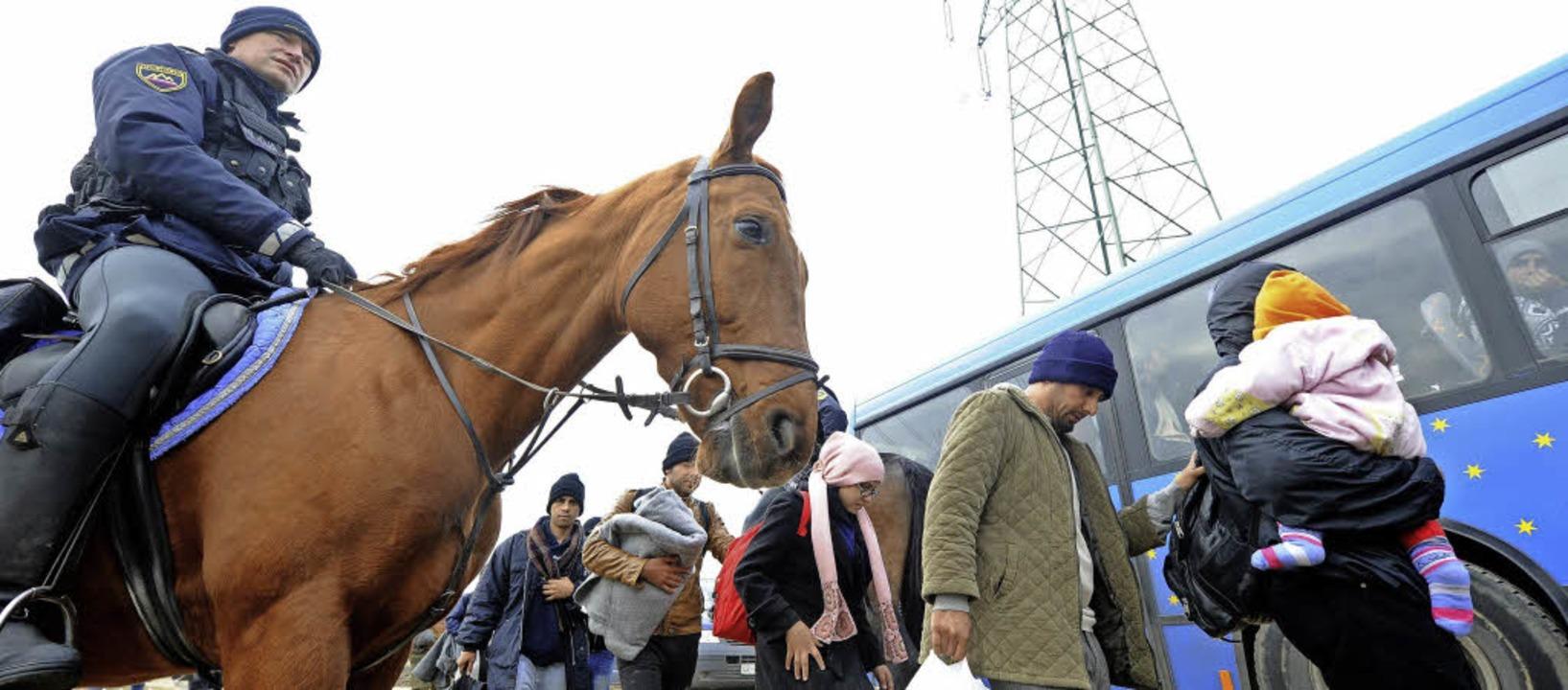 Ein slowenischer Polizist zu Pferd beg... in das Camp Brezice gebracht werden.     Foto: AFP/dpa