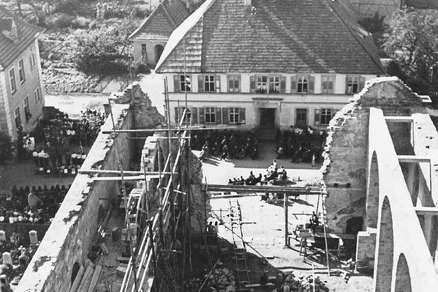 Ein Film zeigt das durch den Weltkrieg zerstörte Kappel