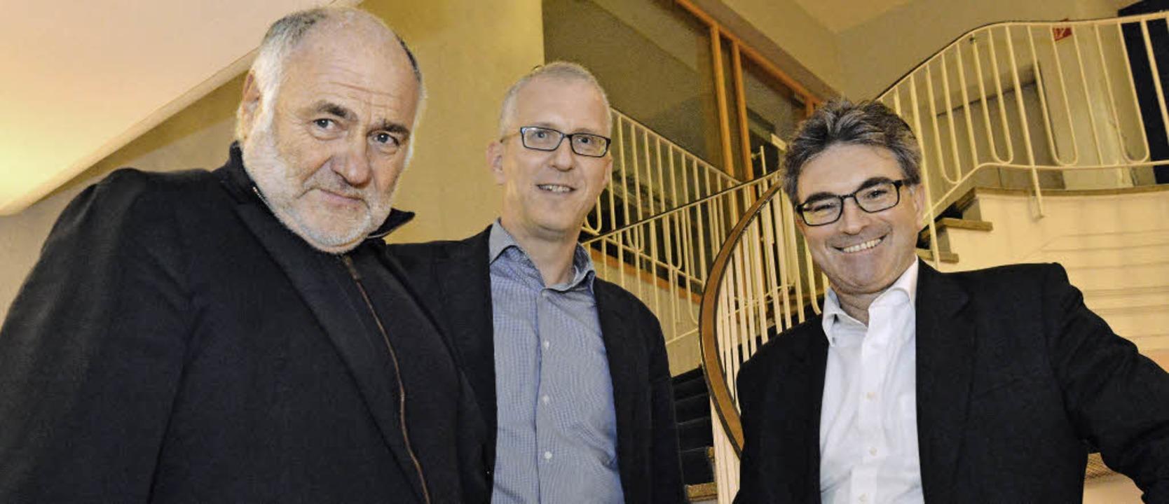 Rezzo Schlauch, Reinhold Weber und Dieter Salomon (von links) im BZ-Haus   | Foto: Michael Bamberger
