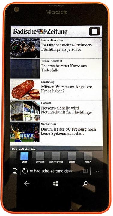 Die mobile Webseite der BZ funktioniert gut im neuen Edge-Browser   | Foto:  Hans-Peter Müller