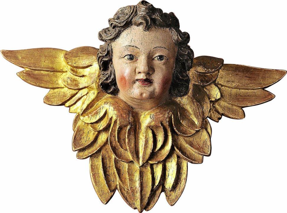Der Kopf-Engel aus dem Barock ist auch Teil der Ausstellung.  | Foto: R. Schlosser