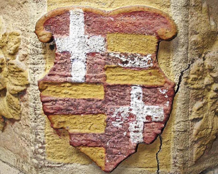 Wappen des Wilhelm von Rhede, Großprio...tersheim, am  Taufstein in St. Gallus.  | Foto: Dargleff Jahnke