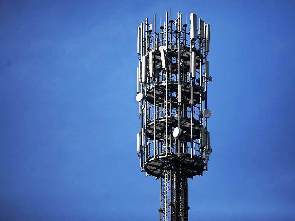 Ein Mast mit Sende-Antennen für Mobilf...ktromagnetische Wellen beeinträchtigt.  | Foto: dpa