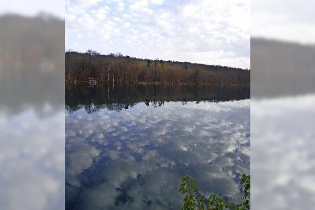 Wolken spiegeln sich im Rhein