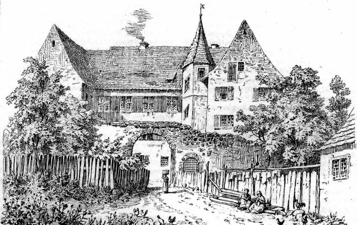 Federzeichnung der Talvogtei von Franz Lederle, 1881.    | Foto: Repro: Dargleff Jahnke