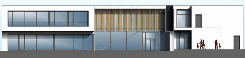 So soll die neue Grundschule in Ehrenk...d davor der überdachte Pausenbereich.   | Foto: Grafik: Architekturbüro Höfer&Stoll