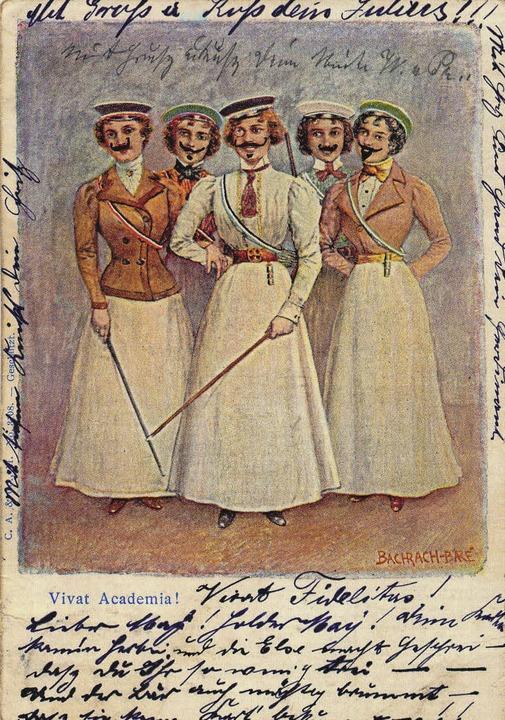 Frauen an der Uni? Die Männer setzten ...nderem auf dieser Postkarte in Szene.   | Foto: Repro: Uniarchiv