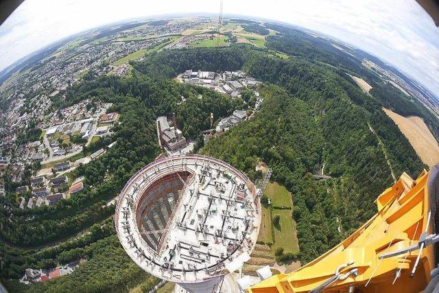 Im neuen Turm in Rottweil sollen Aufzüge getestet werden