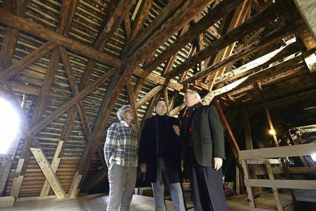 Historischer Dachstuhl von Schloss Munzingen wird aufwändig saniert