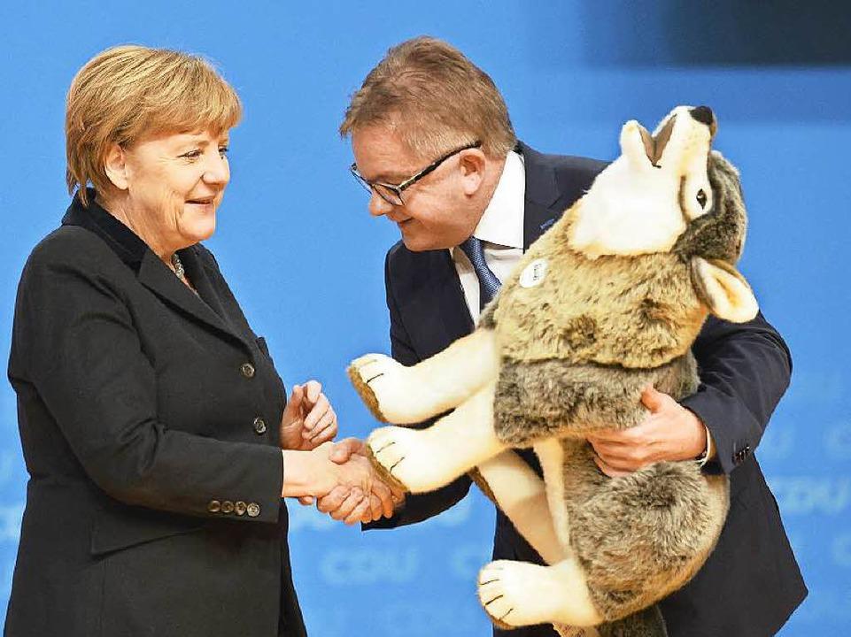 Wenig beeindruckt nimmt Kanzlerin Merk...sei der Wolf schon zu Hause, sagt sie.  | Foto: AFP