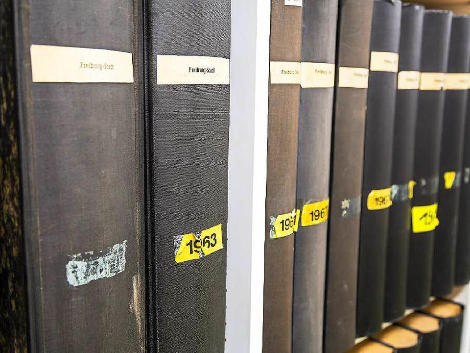 Die Jahrgangsbücher der BZ im Archiv    Foto: Oliver Huber