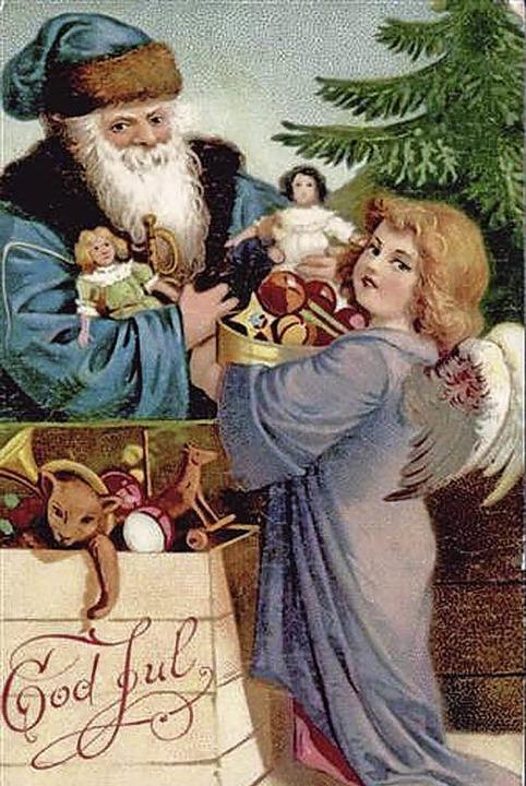 Künstlerkarte mit Weihnachtsmann und Engel, ohne Zeitangabe  | Foto: Sarah Nöltner