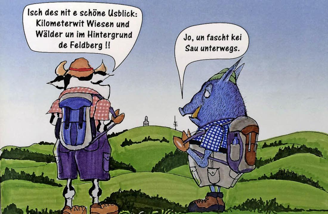 Sau und Wildschwein beim Wanderausflug im Schwarzwald   | Foto: Bert Kohl