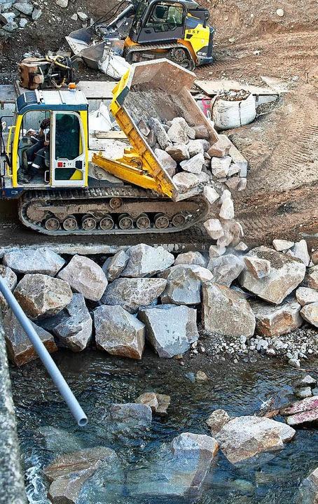 Mit schweren Steinen wird das Dreisamufer gesichert.  | Foto: Michael Bamberger