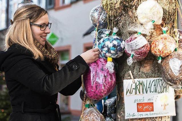 Freiburger hängen Geschenke für Obdachlose an Baum