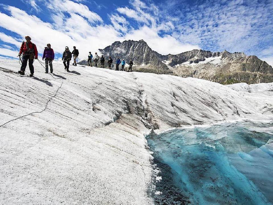 Der Aletschgletscher vermittelt dagegen noch Gletscherfeeling.  | Foto: Dominic Steinmann