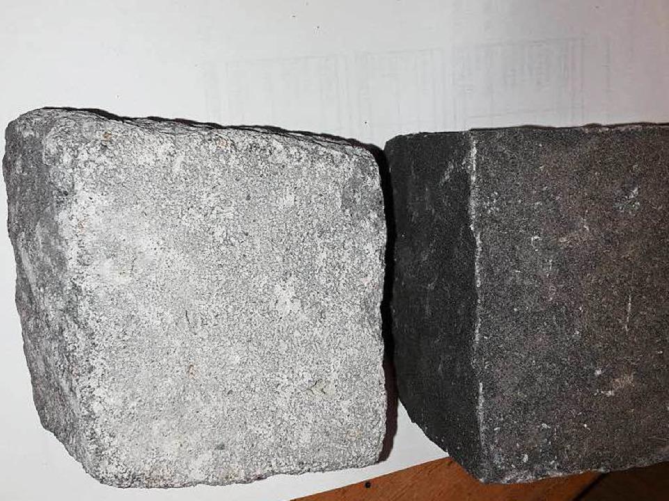 Hell ist die Basaltlava aus Mendig in ...unkel hingegen der Basalt aus Vietnam.  | Foto: Stadtverwaltung
