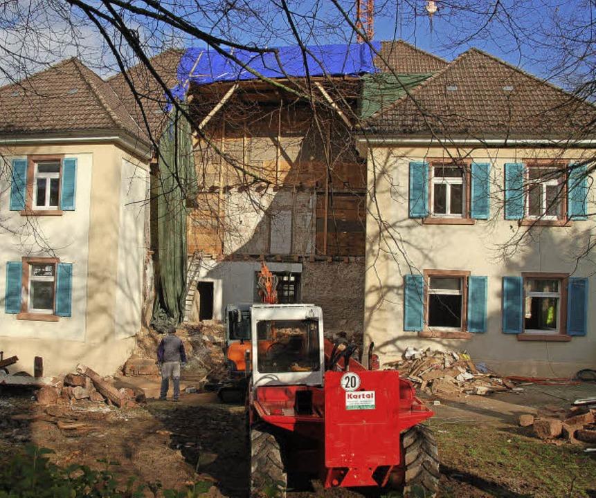 Der Umbau des Rathauses geht voran.  | Foto: Pia Grättinger