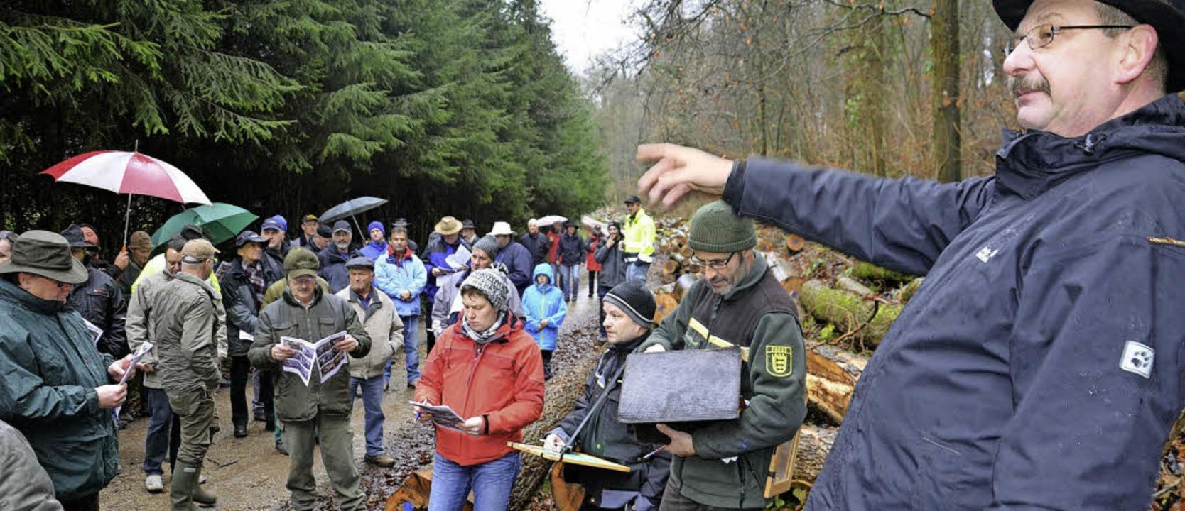 Gemeinsam versteigerten Richard Ludin,...(im Bild von rechts nach links) Holz.   | Foto: Marco Schopferer