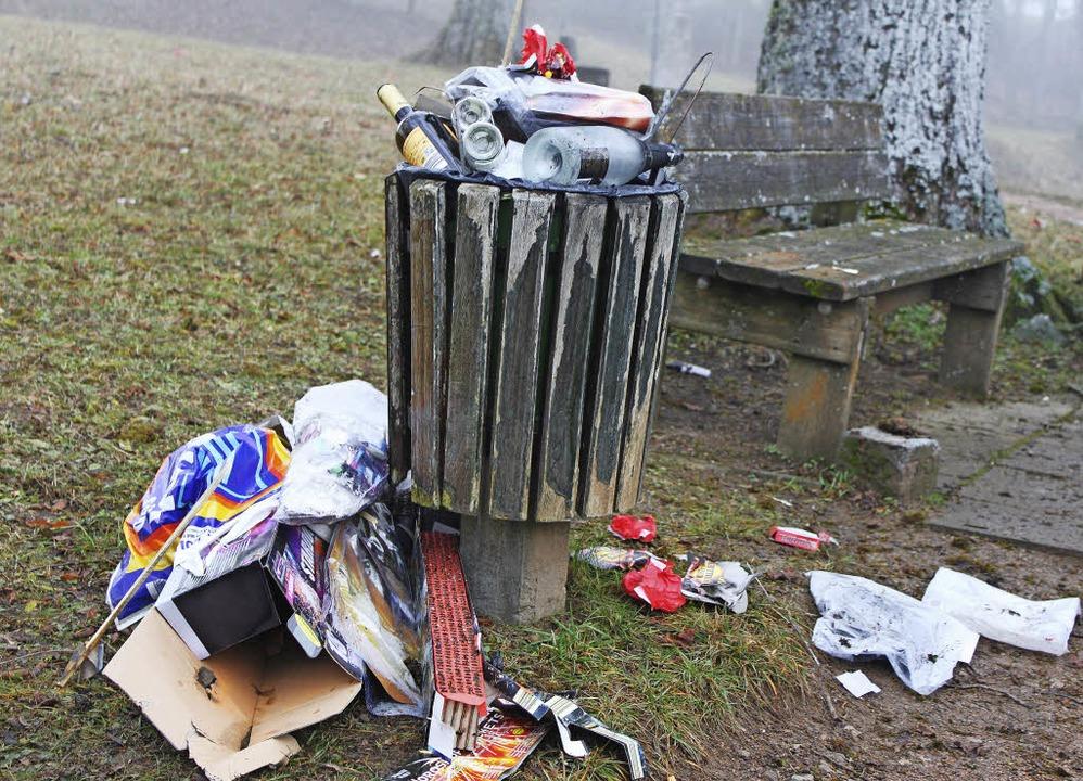 Am Philosophenweg lagen Hinterlassensc...Hecken, auch quoll der Mülleimer über.    Foto: Martha Weishaar
