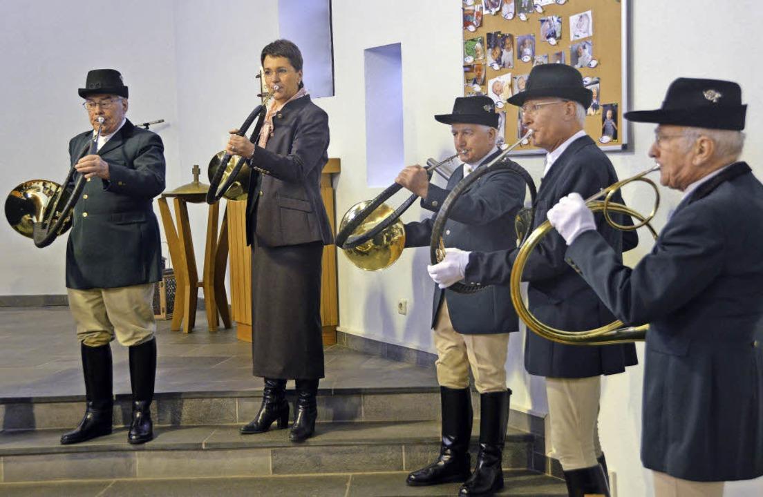 Die Dinkelberger Jagdhornbläser bereic... Gottesdienst in der  Friedenskirche.     Foto: Hrvoje Miloslavic