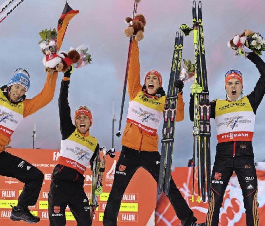Furios in Falun: Die Nordischen Kombin...es Weltmeistertitels im Februar 2015.   | Foto: dpa