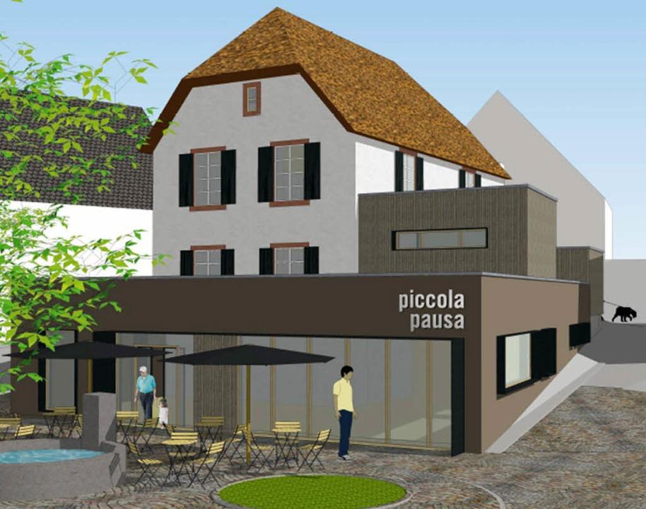 "So soll das Café ""Piccola Pausa"" aussehen.     Foto: Grafik: Architekturbüro Baumert"